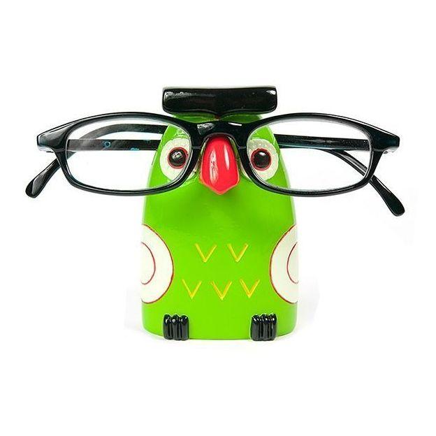 Porte lunettes Hibou vert