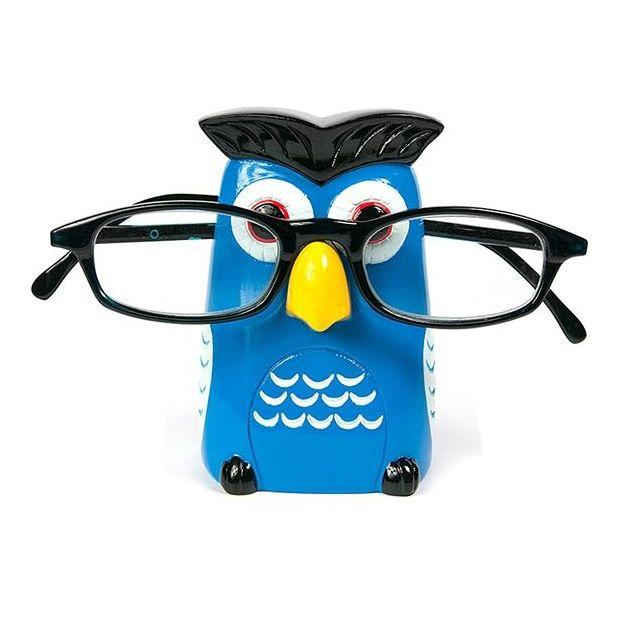 Porte lunettes Hibou bleu
