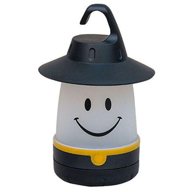 LED Smile Laterne Schwarz