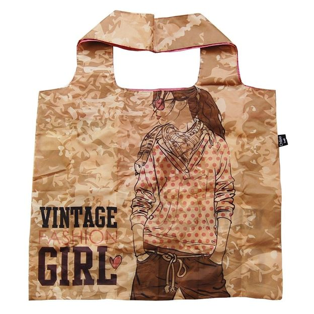 Einkaufsbeutel zusammenfaltbar Vintage Fashion Girl