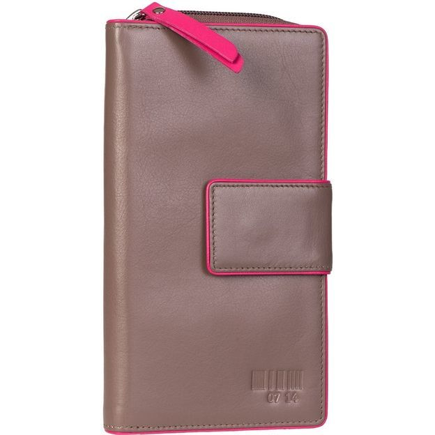 0714 Portemonnaie gross mit Lasche taupe/pink