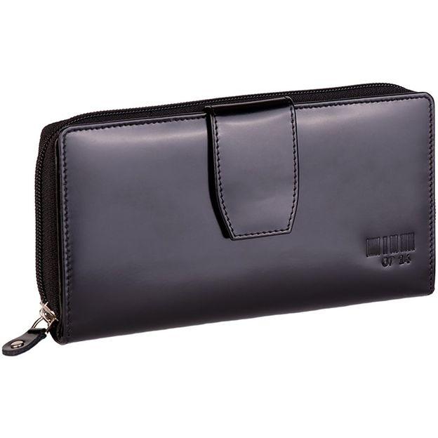 0714 RV-Portemonnaie gross mit Lasche schwarz