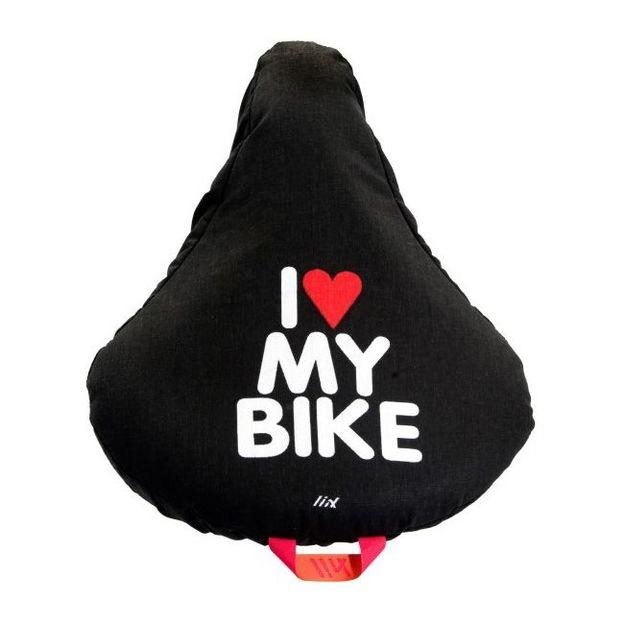 Housse Selle de Vélo Liix Noire i love my Bike