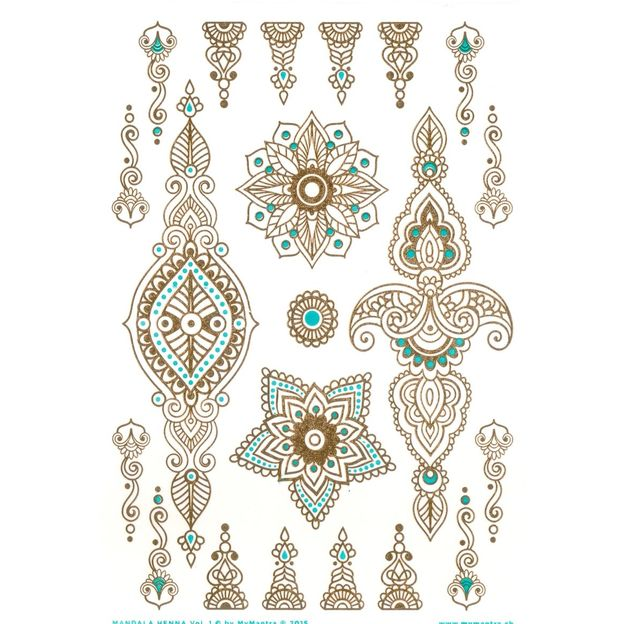 Tatouages éphémères Mandala Henna