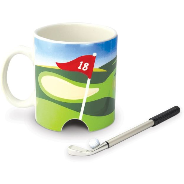 Golf Kaffeebecher mit Loch, Stift und Ball