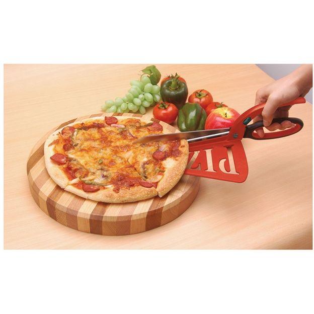 Pizzaschneider-Schere mit Servierfläche
