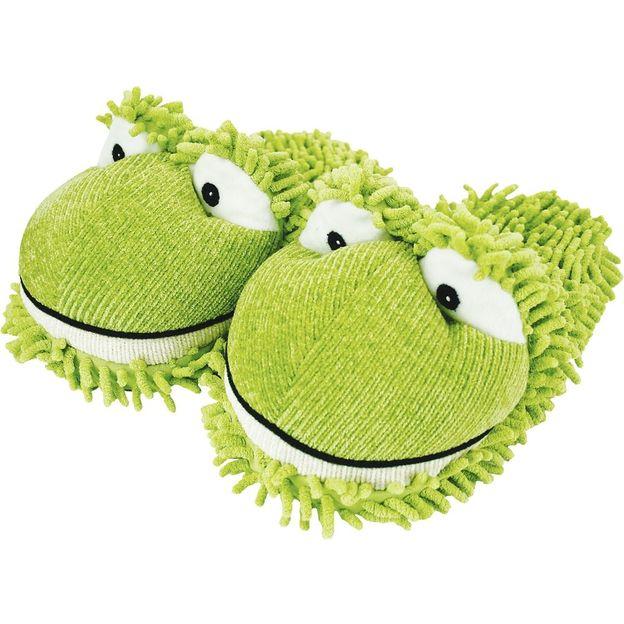 Fuzzy Friends Hausschuhe Frosch grün