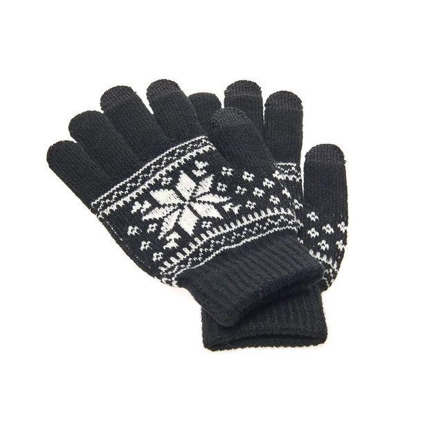 Smartphone Touchscreen Handschuh mit Schneeflocke Schwarz