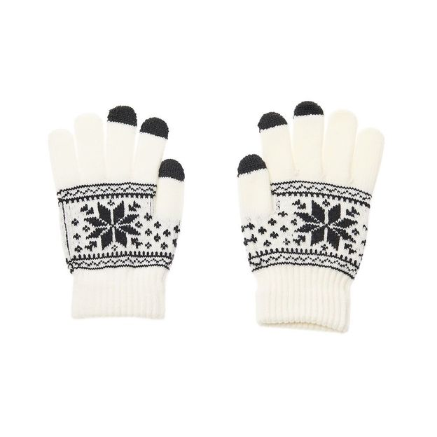 Gants touchscreen Flocon de neige - blancs