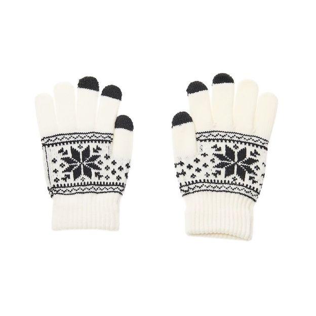 Smartphone Touchscreen Handschuh mit Schneeflocke Weiss