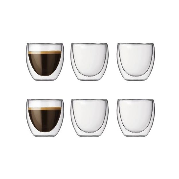 set de 6 tasses espresso pavina double paroi de bodum. Black Bedroom Furniture Sets. Home Design Ideas