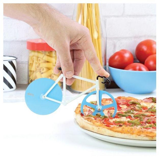 Coupe pizza Vélo fixie bleu