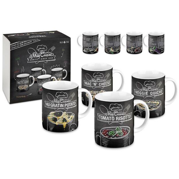 Tassen mit Rezepten für die Mikrowelle 4er Set