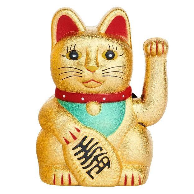 Chat porte-bonheur Maneki-neko 15 cm doré mat