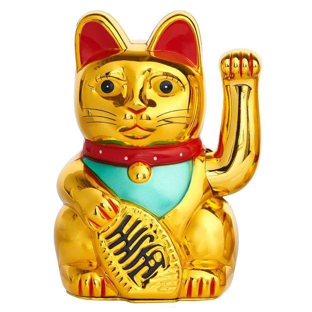Chat porte-bonheur Maneki-neko 17.5 cm doré brillant
