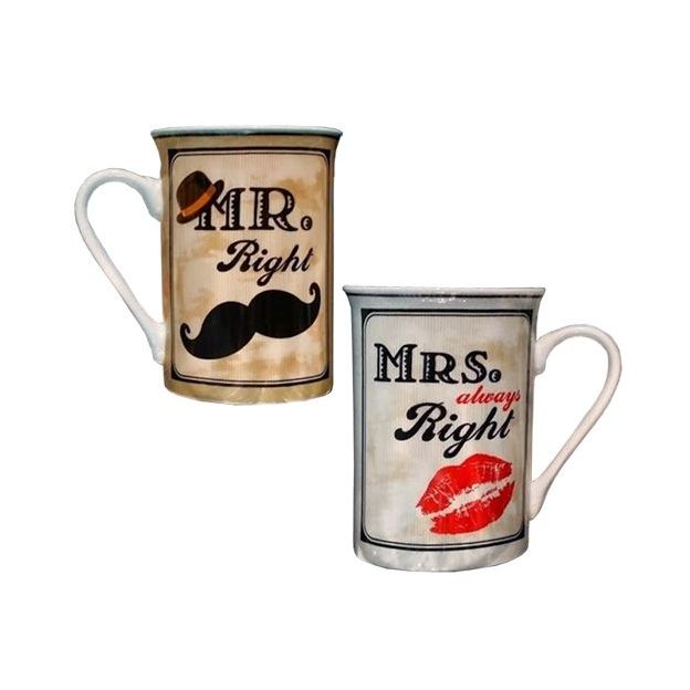 Mr. & Mrs. Right Porzellanbecher inkl. Untersetzer
