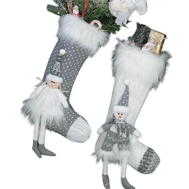 Set de 2 bottes en laine déco de Noël