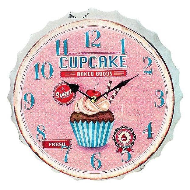 Horloge murale Pâtisserie Cupcakes Rose