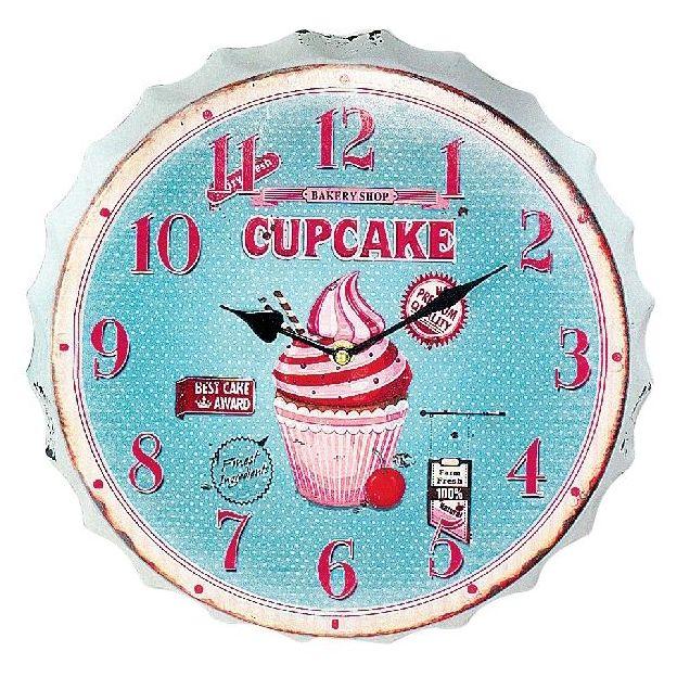 Horloge murale Pâtisserie Cupcakes Bleu