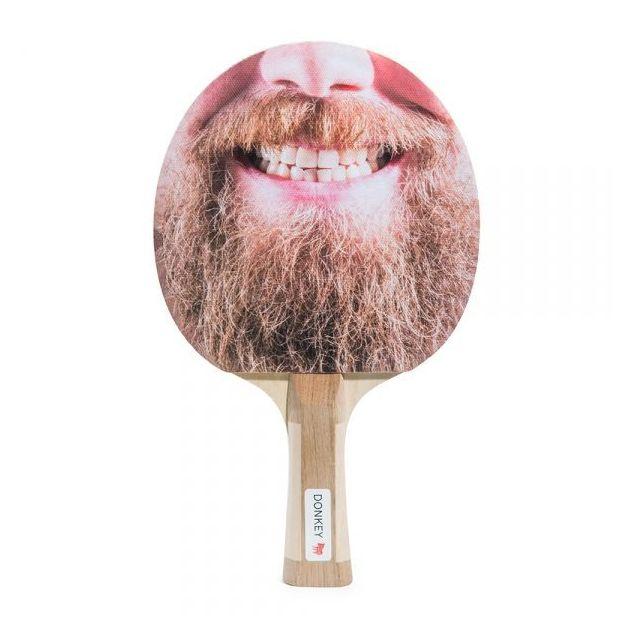Tischtennisschläger mit 2 Ping Pong Bällen Bart