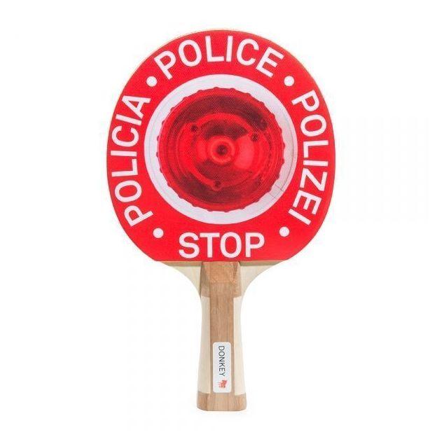 Tischtennisschläger mit 2 Ping Pong Bällen Stop Polizei