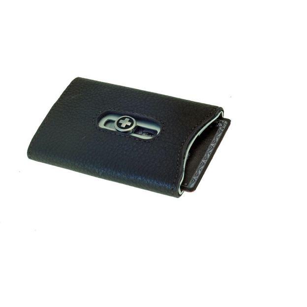 SWISSWALLET Kartenhalter mit Nappaleder und Geldnoten-Clip braun
