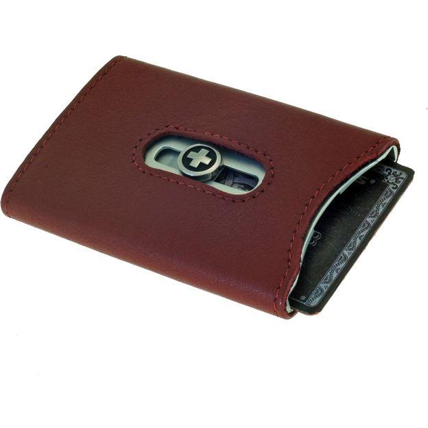 SWISSWALLET Kartenhalter mit Nappaleder und Geldnoten-Clip rot