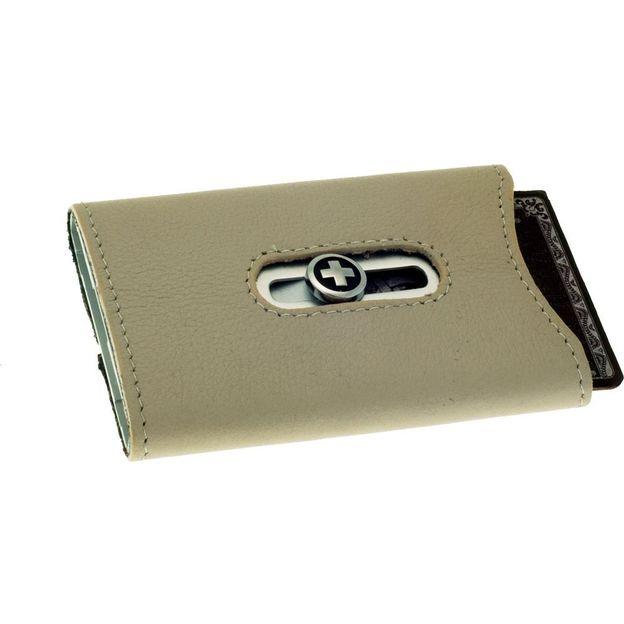 Premium Kartenhalter mit Nappaleder und Geldnoten-Clip beige