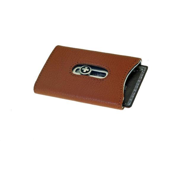 Premium Kartenhalter mit Nappaleder und Geldnoten-Clip tan