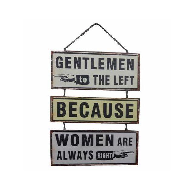 Plaque de métal rétro Gentlemen left Women right