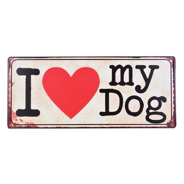 Plaque en métal décorative I love my Dog