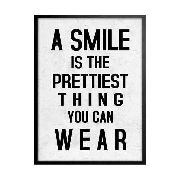 "Cadre citation ""A Smile is the prettiest thing..."""