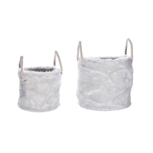 Corbeilles fourrure blanche Aspen - paire grand