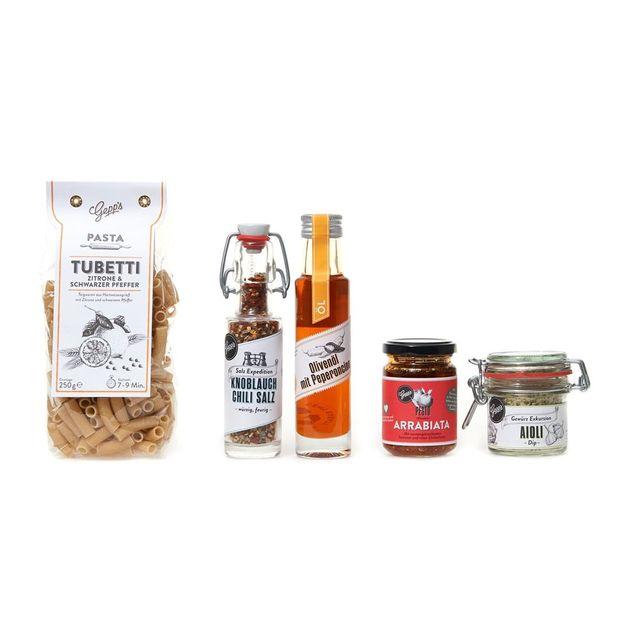 Geschenkset Pasta Tubetti mit Pesto in der Holzbox