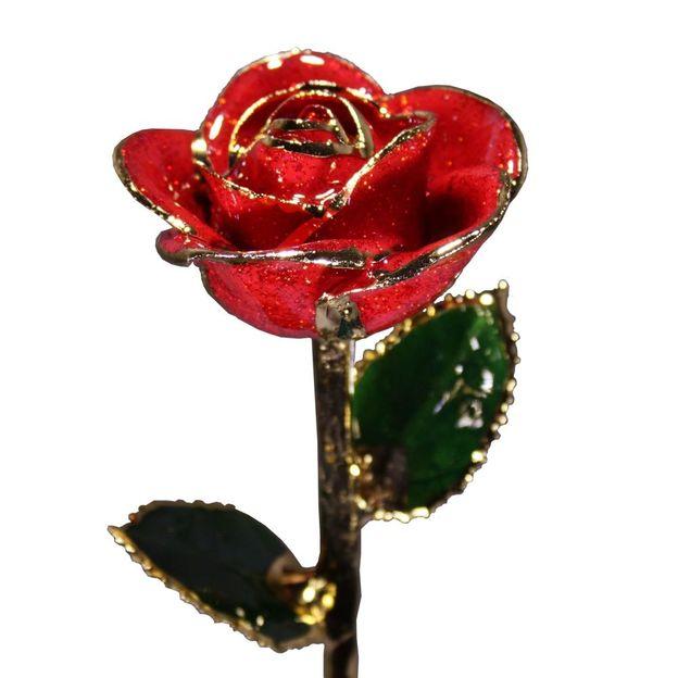 Glitzer Rose mit Goldrand rot