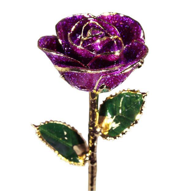 Rose pourpre scintillante à dorures 24 k