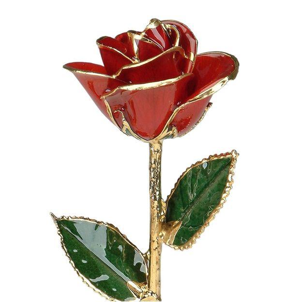 Rose rouge à dorures 24 k