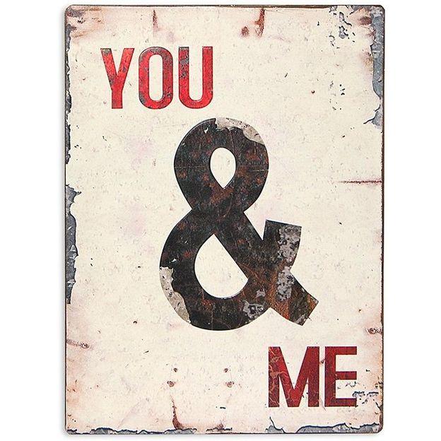 Plaque de métal rétro You & Me