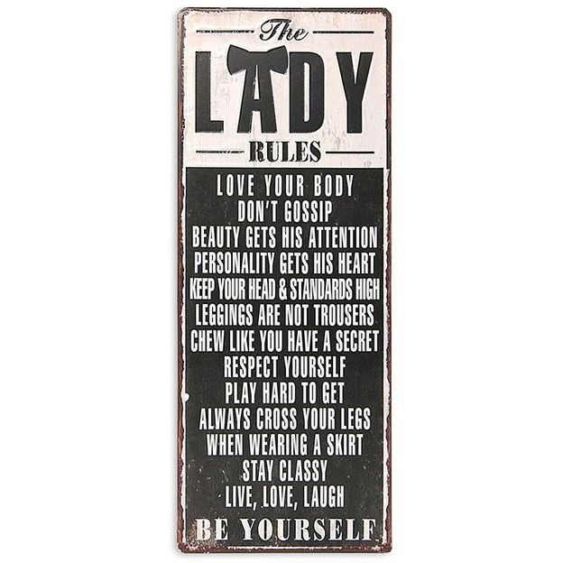 Plaque Rétro Lady Rules