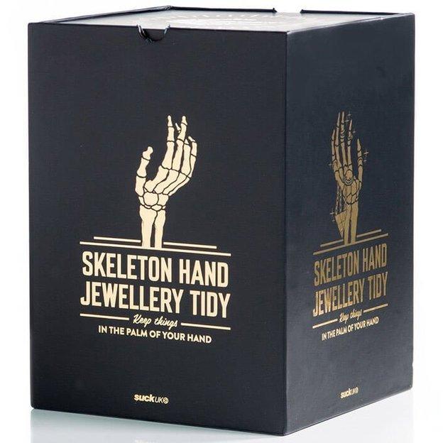 Présentoir à bijoux en forme de main de squelette