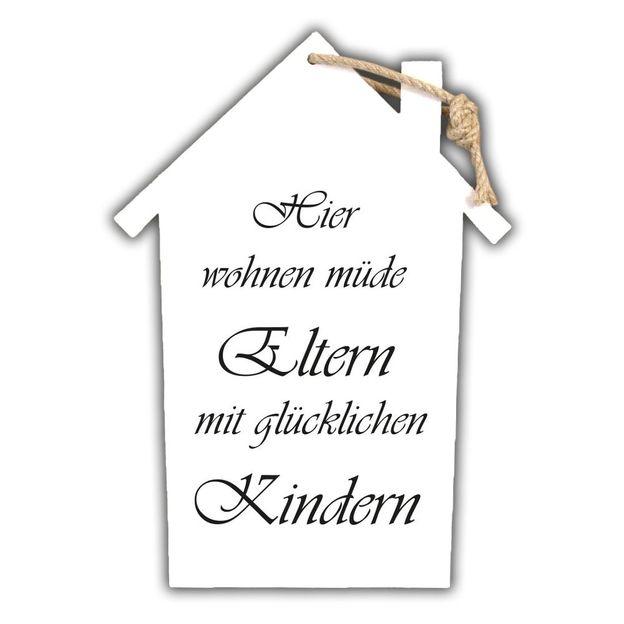 Holzschild mit Spruch zum Aufhängen Hier wohnen...
