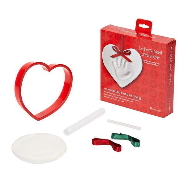 Hand- oder Fussabdruck in Herzform mit Satinbänder