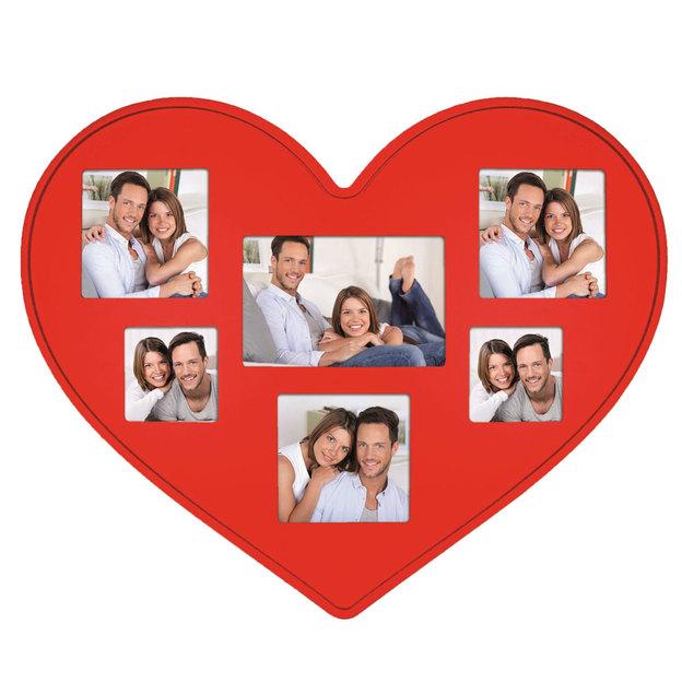 Cadre photo Coeur en bois rouge