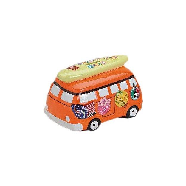 Tirelire Minibus en céramique orange