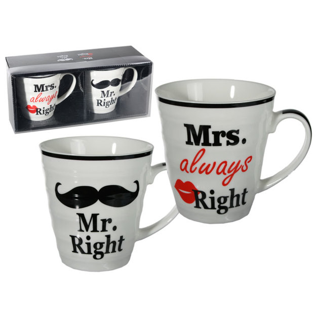 Porzellan-Tassen Mr. Right & Mrs. always Right im Set