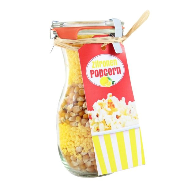 Popcorn im Weckglas Zitrone