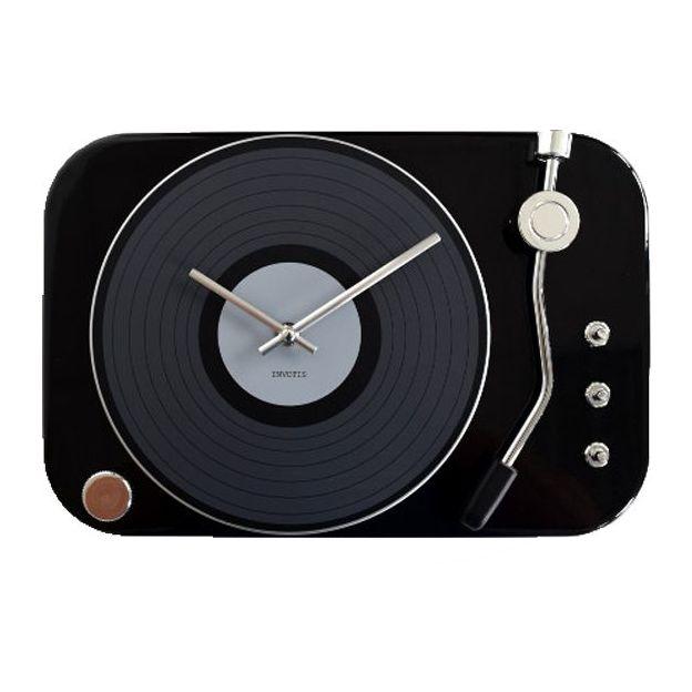 Schallplatten Wanduhr schwarz
