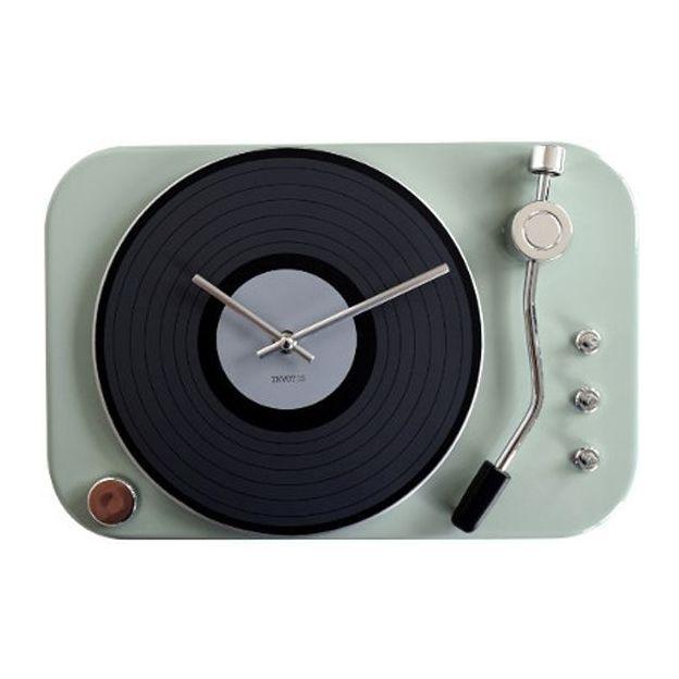 Horloge Tourne disque rétro menthe