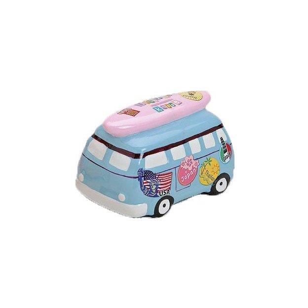 Tirelire Minibus en céramique bleu