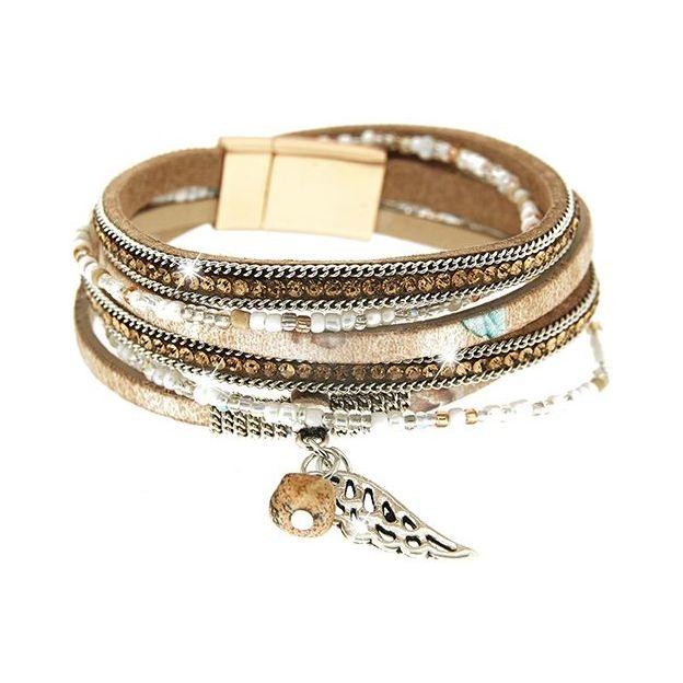 Bracelet Marica camel/argent/topaze/or mat